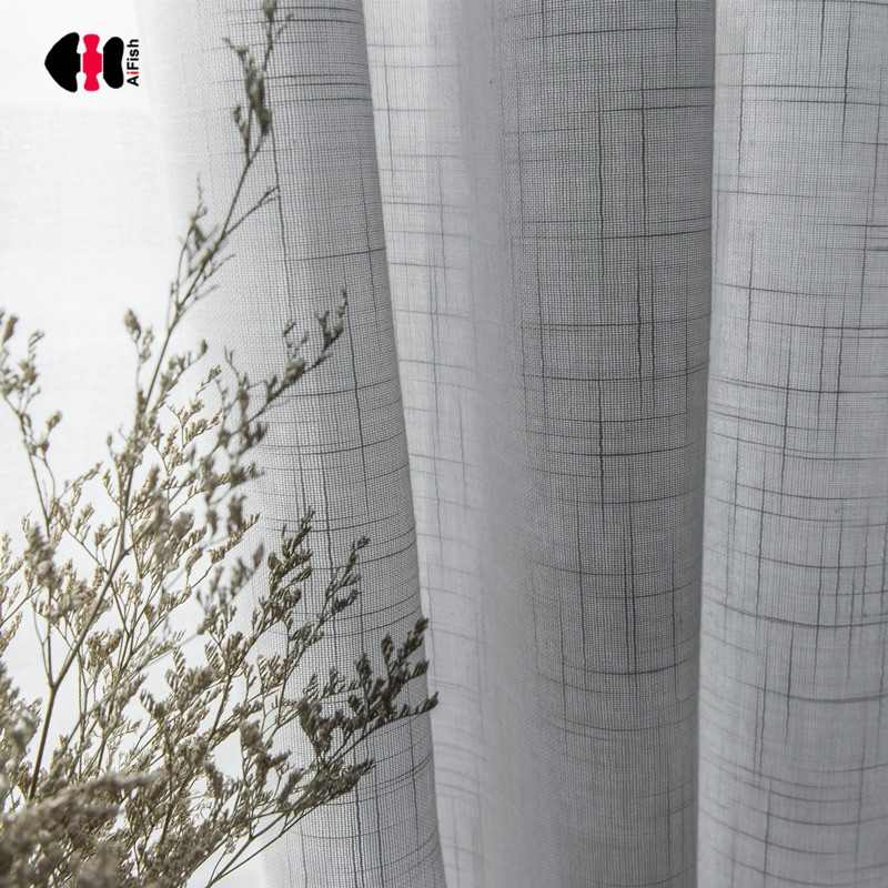 Grey White Solid Voile Curtains for Bedroom Cotton Linen Simple Modern Hotel Decoration Elegant Cortina Drape JS12C