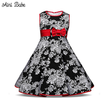 Aini Babe Toddler Baby Dresses Princess Girl Clothes Floral Birthday Prom Party Dress Baby Girls Children's Costume Kids Wear