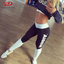 DutteDutta 2017 Women Girl Letter Print Workout Push Up sporting Leggings Casual Pants High Waist Slim Trousers Fitness Leggins