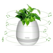 Creative Bluetooth Wireless Speaker Smart Music Flowerpot Touch Plant Music Playing Multi-color LED Light Loudspeakers for phone(China)