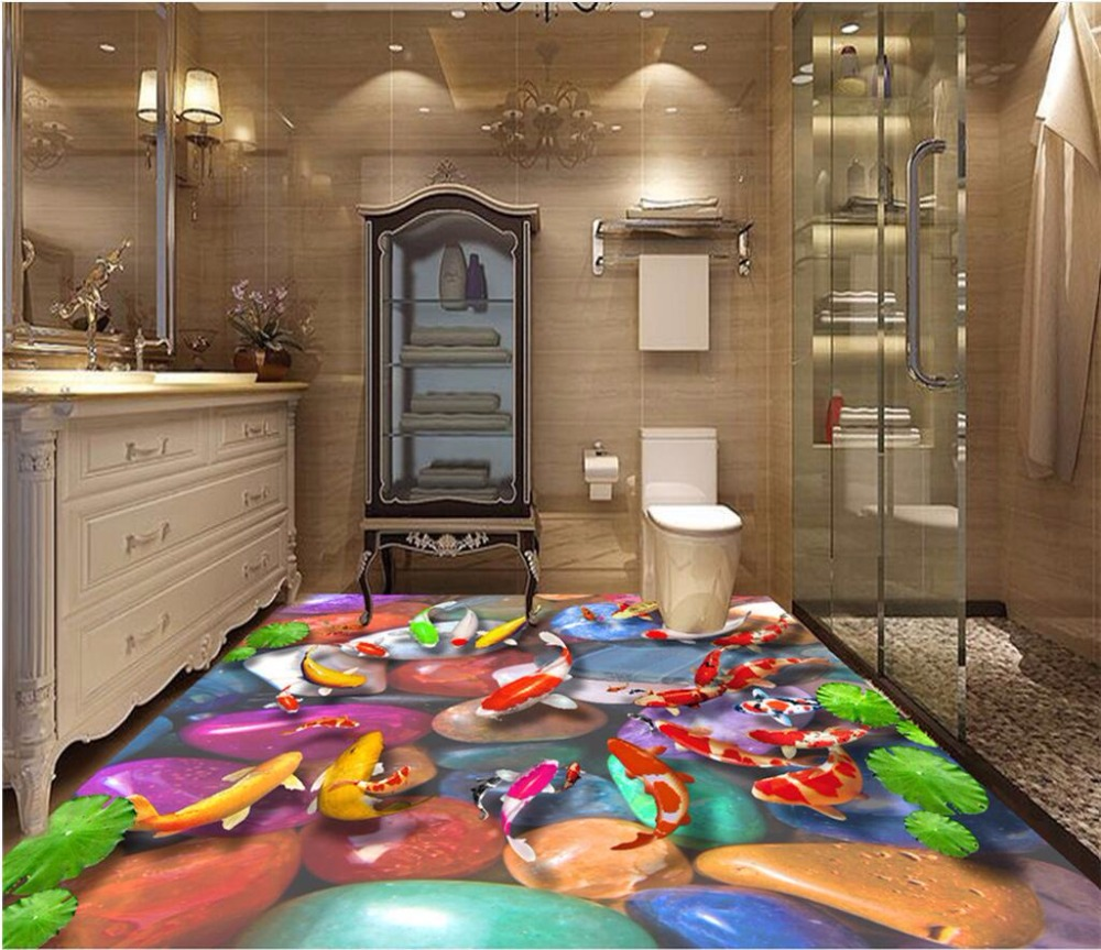 Custom mural 3d flooring picture pvc self adhesive sticker wall paper Lotus carp stone decor painting 3d wall murals wallpaper<br>