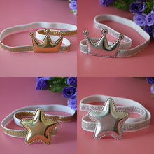 2017 New Arrival Glittering Stars Crown Kids Hair Accessories Princess Tiara Headbands Children Headwear Girls Elastic Hair Band