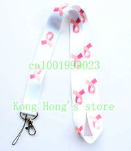 Free shipping 10pcs Red ribbon white lanyards mobile phone neck key chain straps accessory H-14(China)