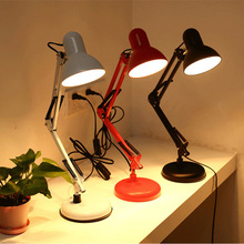 Luxury White Black Red Painted Adjustable Table Lamp Vintage E27 LED Light Bulb Study Bedroom Lamps Abajur Lamparas De Mesa Luz(China)