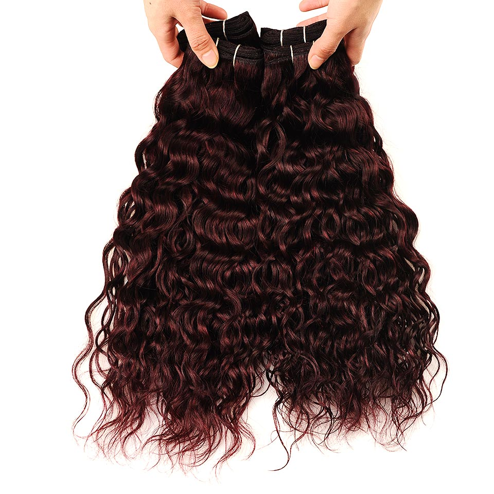 Brazilian Water Wave Hair Burgundy 4 Bundles With Closure Wet Wavy Pinshair Pre-Colored Dark Red Human Hair With Closure NonRemy (89)