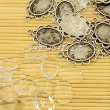 DIY Pendant Making, Antique Silver Zinc Alloy Pendant Cabochon Settings and Oval Transparent Glass Cabochons, Lead Free &