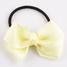 10pcs/pack 7cm Solid Grosgrain Ribbon Hair Bow Elastic Bands for Girls Navy White Pink Iovry Lime Red etc.(China)