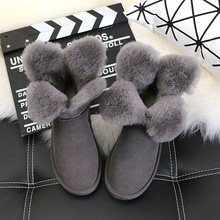 The new winter 2017 clovers sheep fur one short boots female cone dermal thickening joker antiskid short boots(China)