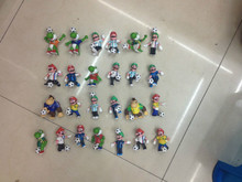 20pcs/lot sporting marios 6-7cm super mario bros play football boys toys car decoration brinquedos birthday gift for kids(China)