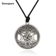 Dawapara Triple Moon Goddess Wicca Pentagram Magic Amulet Necklace Women tree of life moon necklaces pendants vintage jewelry