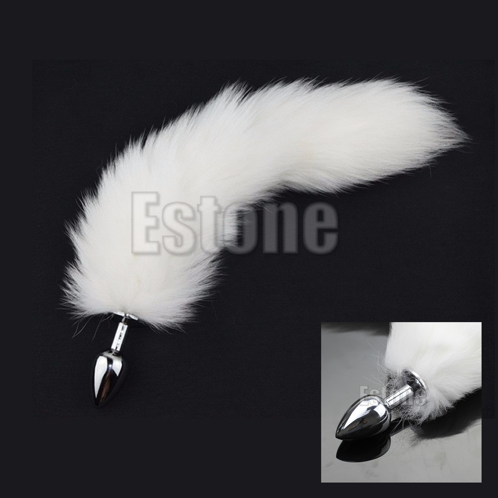 White Real Fur Fox Tail Adult Funny Toys Metal Anal-Butt Plug Games Cosplay