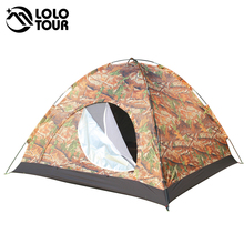 Outdoor Camouflage Camping Family Tent Portable Single Layer Waterproof Barraca Canvas Tent Awning Military Tents 4 Person
