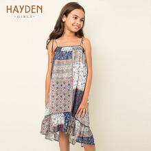 HAYDEN teenage girls chiffon dress strap costumes pendulum 6 8 childre girls clothes navy fancy frocks party children clothing