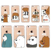 Cute Cartoon Animation Phone Case For iphone X 7/8 plus 6plus 5s We Bare Bears Grizzly & Panda & Ice Bear Thicken Soft TPU Cover(China)