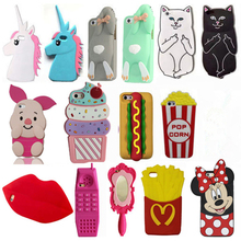 3D Cartoon Minnie Kat Koffie Cup Eenhoorn Soft Silicone Cover Voor iPhone 5 5 s SE 5C 6 6 s 7 8 Plus X XR Xs Max Telefoon Gevallen Coque(China)