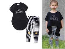 For mini gaga children's clothing ins summer female child irregular black top legging set 17110