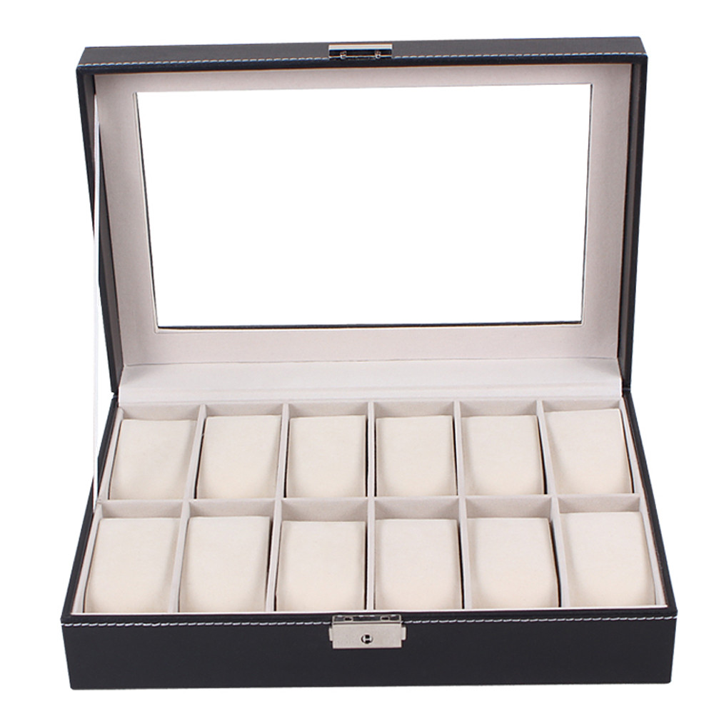 watch box  Large Watch Display Case Jewelry Box Leather Glass 12 Slots Men Black NEW  Oct21 send in 2 days<br><br>Aliexpress