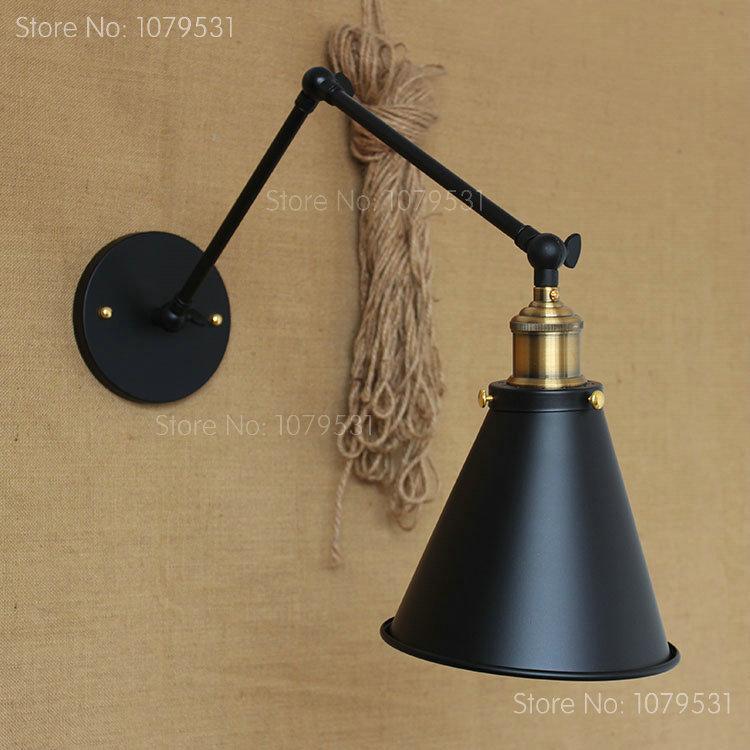 Retro Two Swing Arm Wall Lamp For Bedroom Bedside Adjustable Wall Mount arm lamp abajur para quarto de cabeceira<br><br>Aliexpress