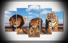2017 Animal Line Leopard Tiger Wall Art Canvas Modern Painting Printed Pictures Home Decoration(China)