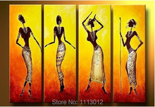 Hot Sale Hand-painted Modern African Women Dancing Oil Painting On Canvas 4 Panel Art Set Home Wall Decor For Living Room Sale