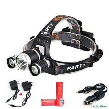 CREE XML T6 LED Headlamp 5 Modes 6000LM Waterproof Head Lamp Head Light with 2x18650 Batteries &EU or US Charger&Car Charger(China)