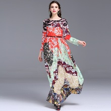 Print Long party dress 2016 NEW High quality spring fashion Women trend Clothing summer Long sleeve Dress Slim colorful dresses