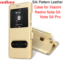 REDTREE Silk Pattern Case for Xiaomi Redmi Note 5A View Window Flip Cover Smartphone Leather Case for Redmi Note 5A Pro Xiomi