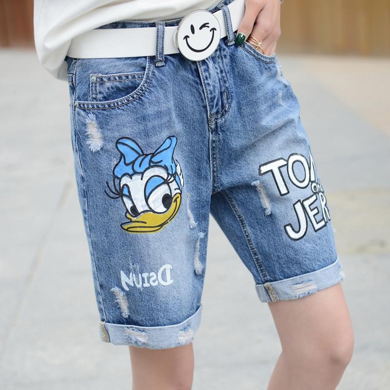 plus size denim jeans shorts women summer 2017 bermuda feminina hole cowboy Cartoon print loose pants denim shorts female A0880Одежда и ак�е��уары<br><br><br>Aliexpress
