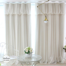 Modern Korean Style Blackout Curtains For Living Room Luxury Ivory Green Blue Pink Curtian+voile Sheer a lot/set Window Drapes(China)