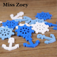 WD035(50), Rudder Sea Steering Wheels Anchors Wooden Buttons Beads Charms Scrapbooking DIY Craft Dropship For Kids Toy Bracelet(China)