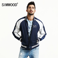 SIMWOOD 2017 Spring Casual bomber jacket men  crane embroidery  Baseball collar pilot coats brand clothing WJ1668