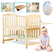 Beedome Pine Baby bed with shelf, can extend to 1.4meter kids bed, rocking baby bed with 4 wheels, natural baby cot(China)
