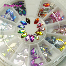 DIY Strass Nail Art Decorations 12 Shiny Color 3D Acrylic Glitter Rhinestones Wheel Gems Nail Manicure Tips Decoration Round(China)