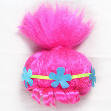 Trolls Dress Cosplay Wig+headband Trolls Wigs Poppy Dress 2017 Trolls Girls Party Cosplay Dress Up