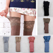 Lace Stockings Women Knitting Lace Cotton Over Knee Thigh Stockings High Pantyhose Stay Up(China)