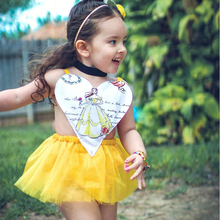 summer girls princess dress 2017 kids Performance clothing cartoon printed heart type harness dress yellow mesh dress for baby