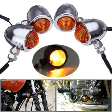 4x Chrome Bullet Motorcycle Turn Signal Bulbs Indicators Blinker Light for Harley Yamaha Suzuki Kawasaki Honda Universal 0073