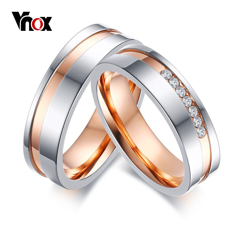 Vnox Elegant Wedding Rings Women Men CZ Stones Stainless Steel Couple Ring Promise Band Engagement Wedding Jewelry