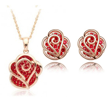 Gift! 2017 Fashion Rose Shaped Women Jewelry Sets, 2 Colors Studs Earrings and Necklace, Silver A85+B107(China)