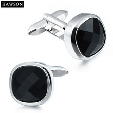 HAWSON Brand Luxury Zircon Cuff links French Cufflinks for Mens Shirt Romantic Anniversary Wedding Gift for Free Gift Box(China)