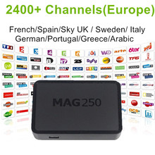 Linux IPTV Box Mag 250 Ip tv Set Top Box Europe Arabic IPTV Subscription Sweden French Germany IPTV Channels Mag250 TV Box IUDTV