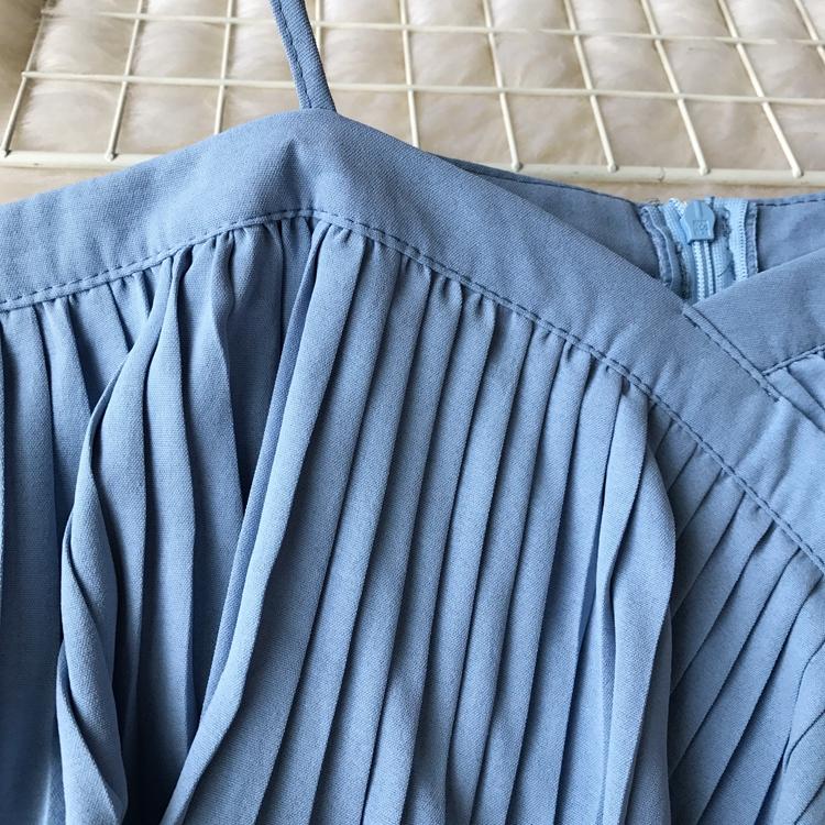 2019 Spring Women Chiffon Pleated Braces Sling Spaghetti Strap Goffer Long Dress Ladies Ruffles Empire Drapped Swing Slip Dress 189