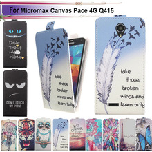 Fashion 11 Colors Cartoon Pattern Up and Down Flip PU Leather Case For Micromax Canvas Pace 4G Q415