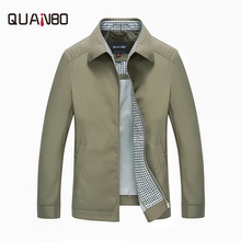 QUANBO Brand Clothing 2017 New Spring Autumn Men Fashion Casual Coats Males Zipper Down Collar Solid Khaki Jacket  3XL