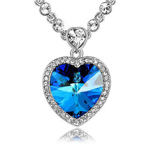 real white gold color thick link chain with blue Austrian crystals of the heart of the ocean pendant necklace (N003497)