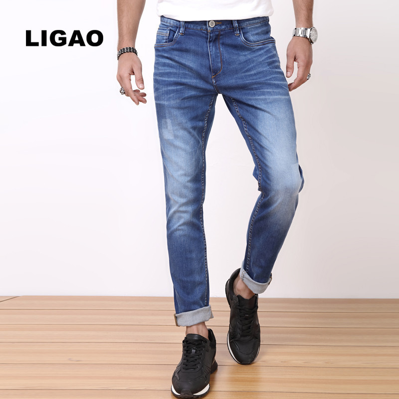 LIGAO 2017 Mens Jeans Trendy Design Elastic Stretch Denim Full Length Leisure Straight Blue Long Pants Mens Jeans Pant VaquerosÎäåæäà è àêñåññóàðû<br><br>