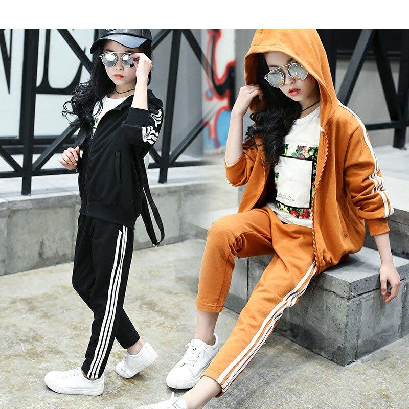 hooded spring autumn tracksuit for girls black brown kids sports suit little teenage girls clothing sets coats pants set<br>