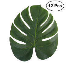 12pcs 35x29cm Artificial Tropical Palm Leaves Simulation Leaf for Hawaiian Luau Party Jungle Beach Theme Indoor Decor Plants