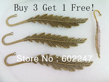 Free Shipping Zinc Metal Alloy Feather Charms Bookmarks 140mm Length Buy 3 get 1 free, Jewelry Book mark Wholesales(China)