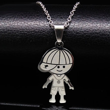Stainless Steel Chain Mother Baby Boy Girl Pendant Necklaces Family Necklace maxi collar For Women Kids Christmas Gift N2502